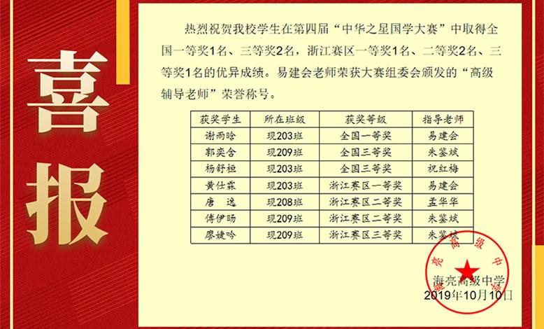 """热烈祝贺我校学生在第四届""""中华之星国学大赛""""获奖"""